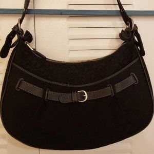 """New W/ Defects""Talbots Black Leather Fabric Purse"